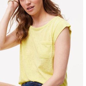 💥4/$20{Loft}Citron Yellow Cap Sleeve 1 Pocket Top